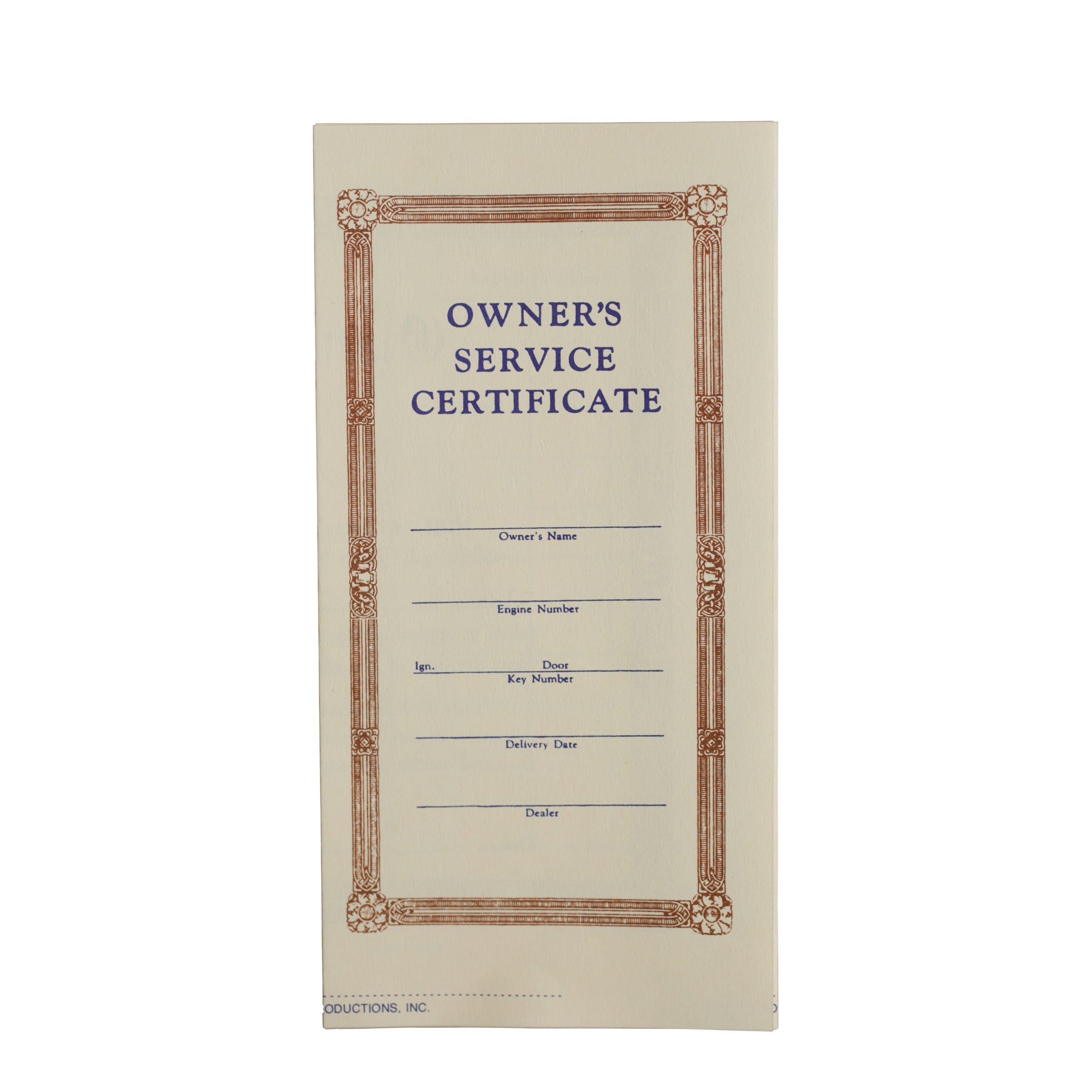 Owners Service Certificate • 1939-41 Ford