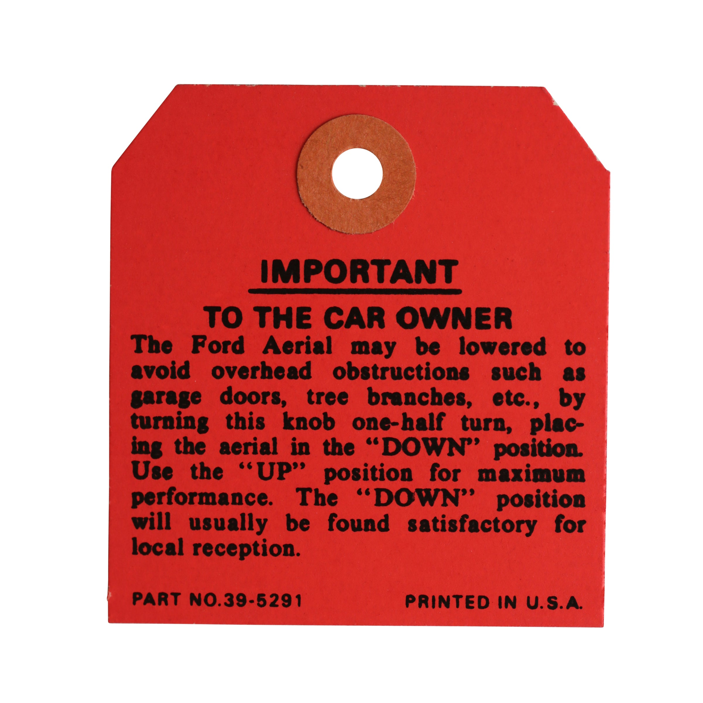 Interior Antenna Instruction Tag • 1937-39 Ford