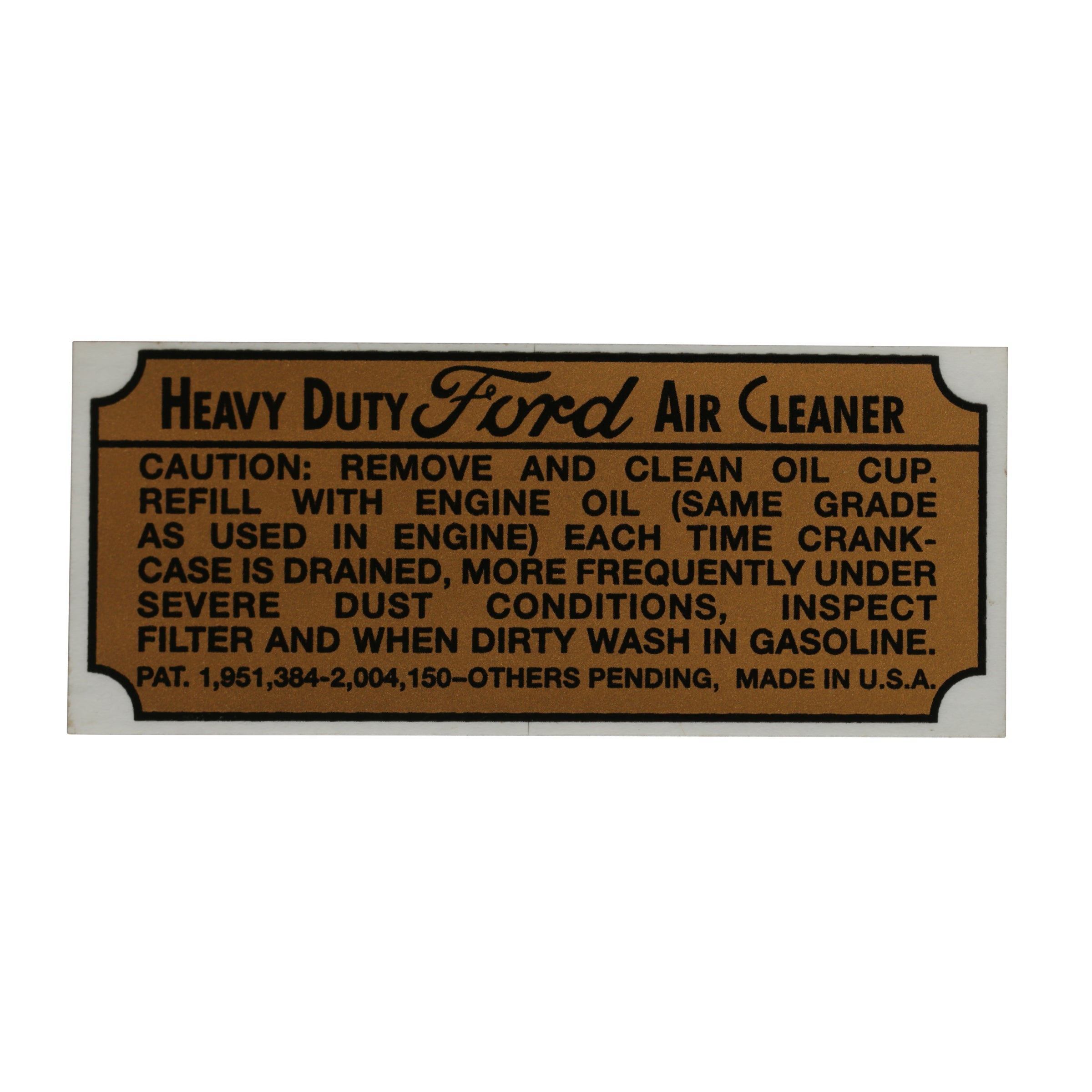 Air Cleaner Decal • 1939-41 Ford