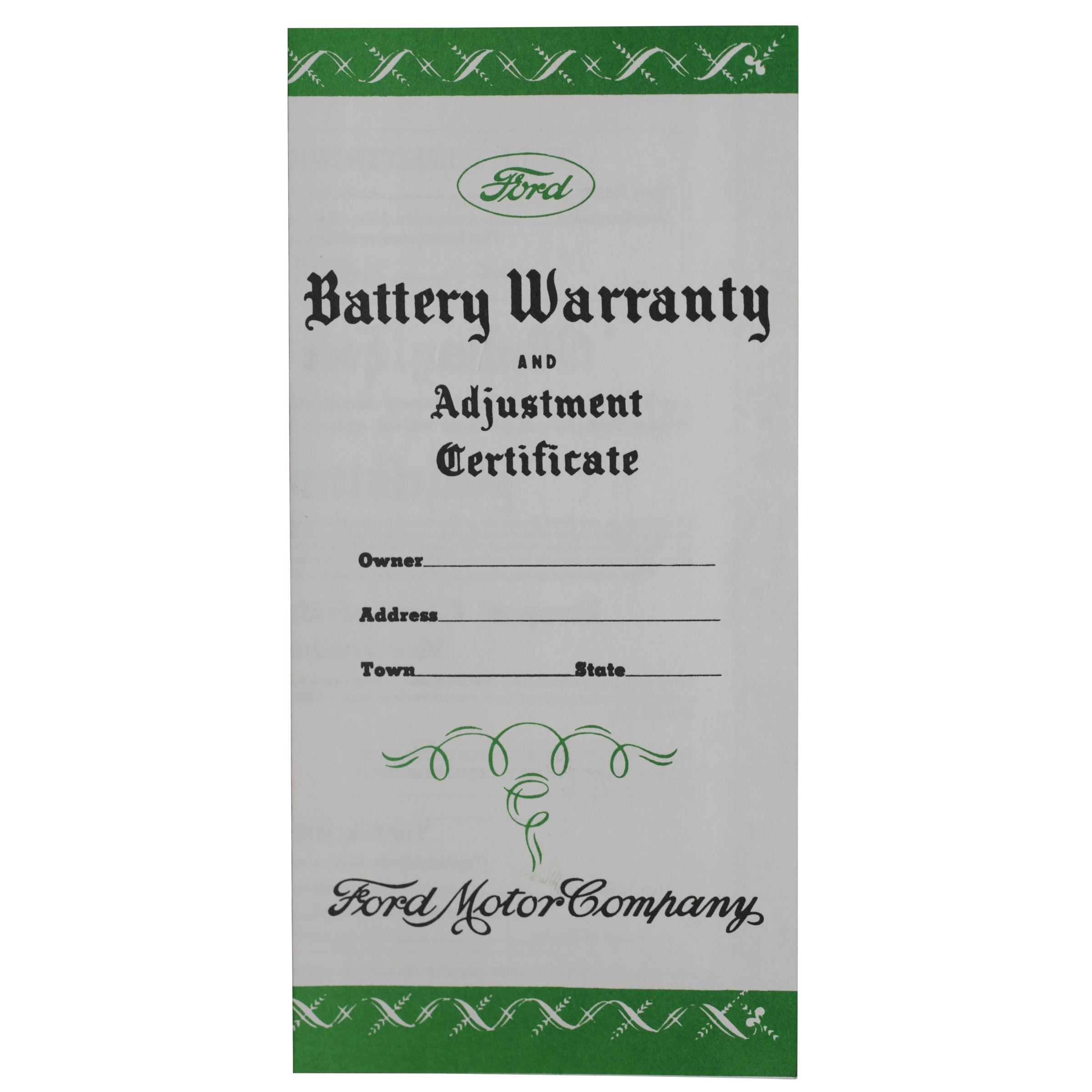 Battery Certificate • 1938-48 Ford