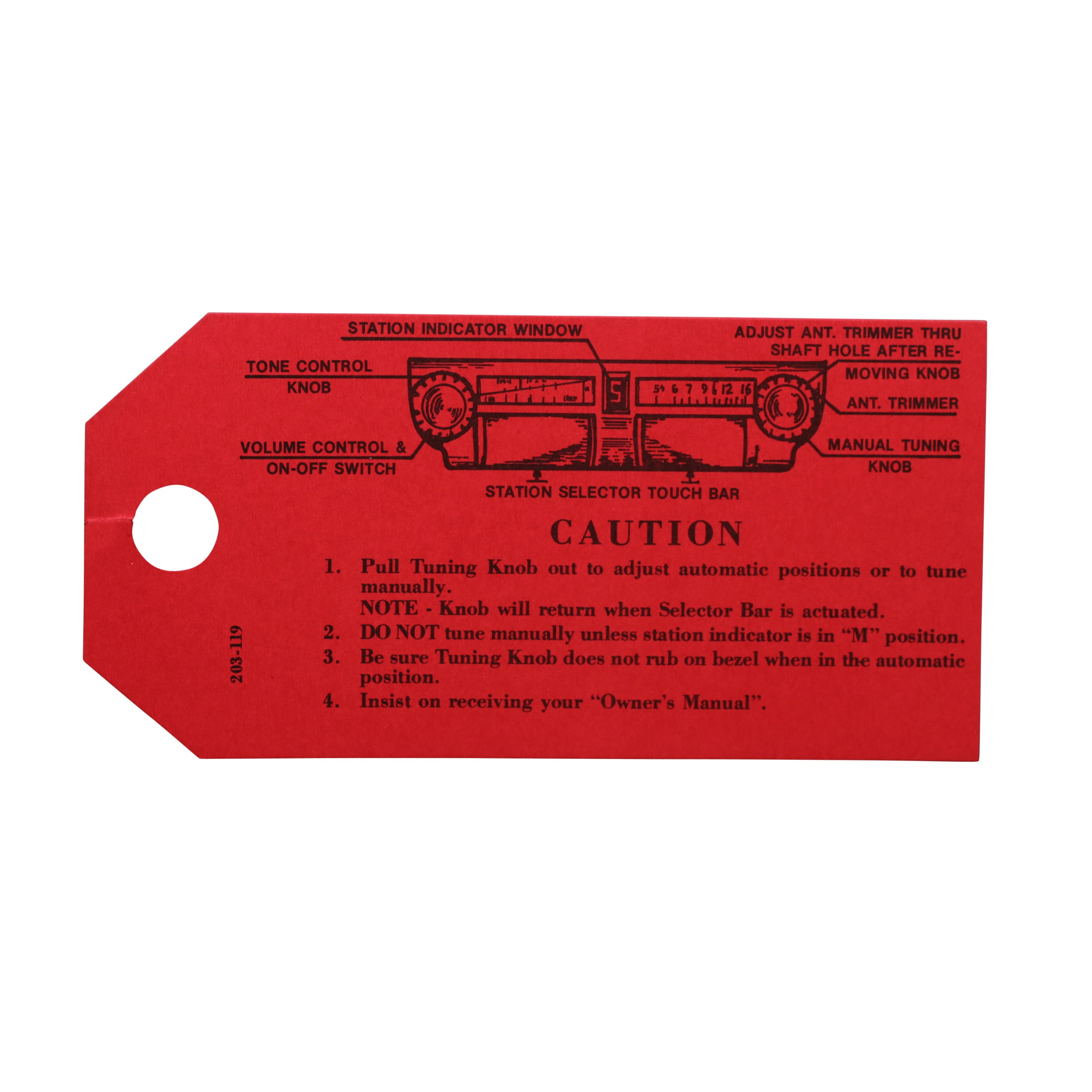 Interior Radio Instruction Tag • 1946-48 Ford