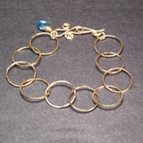 Wide Hoop Bracelet with Stone Accent