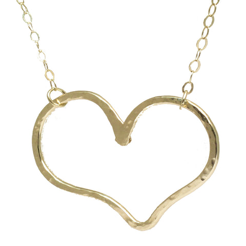 Hammered Heavy Heart Necklace