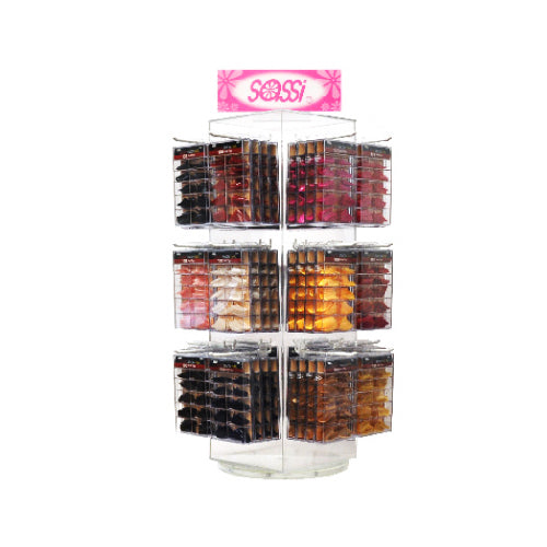 100T Color Salon Nail Tip Display Rack - Clear Acrylic Rotating Tower with Sassi Logo
