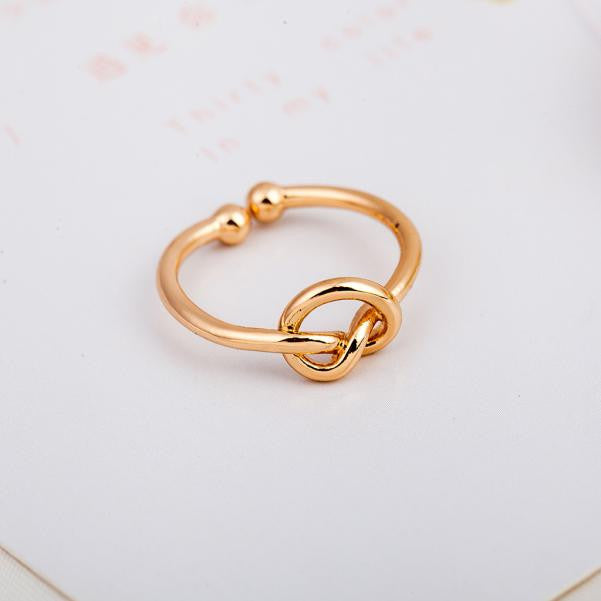 Simple Knot Open Adjustable Ring for women