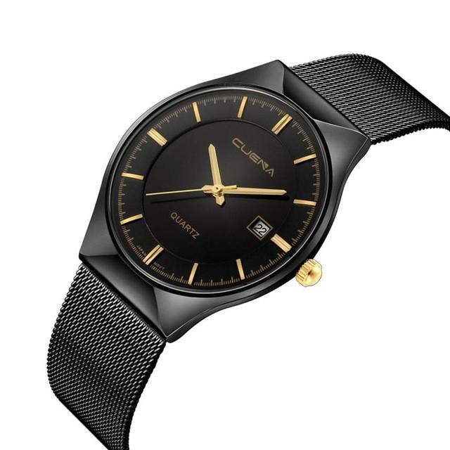 CUENA : Three Hand Black Silver Gold Tone Stainless Stell Watch