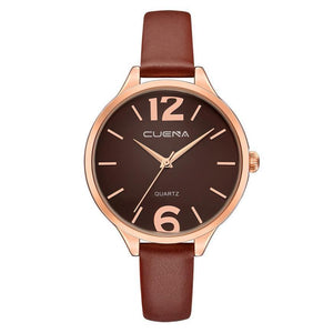 CUENA : Three Hand Rose Gold Black or Silver Tone Leather Watch