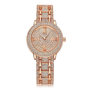 Genvivia : Three Hand Rose-Gold silver or Gold Tone Stainless Stell Watch