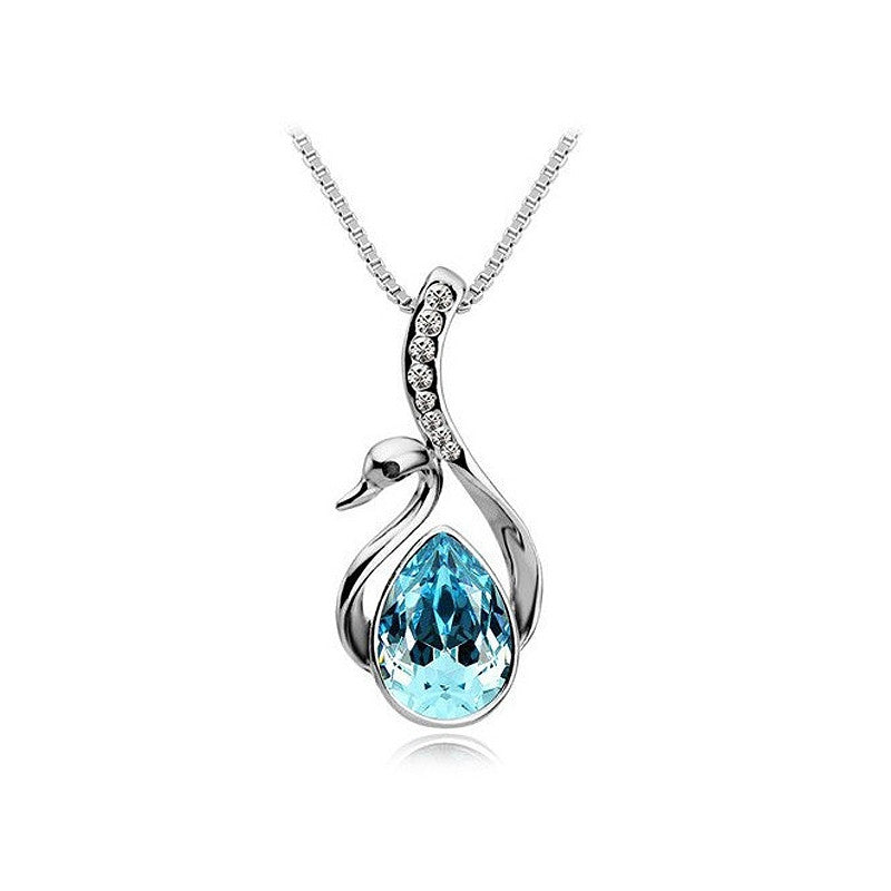 Silver Plated Crystal Swan Pendant Necklace Chain