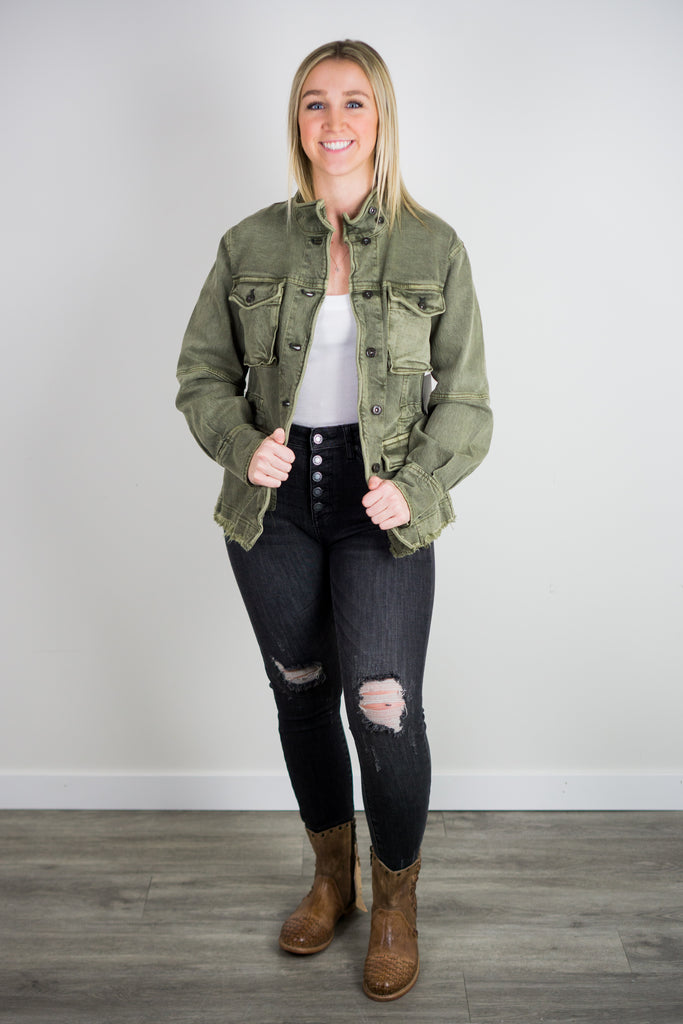 Free People Harley Military Shirt