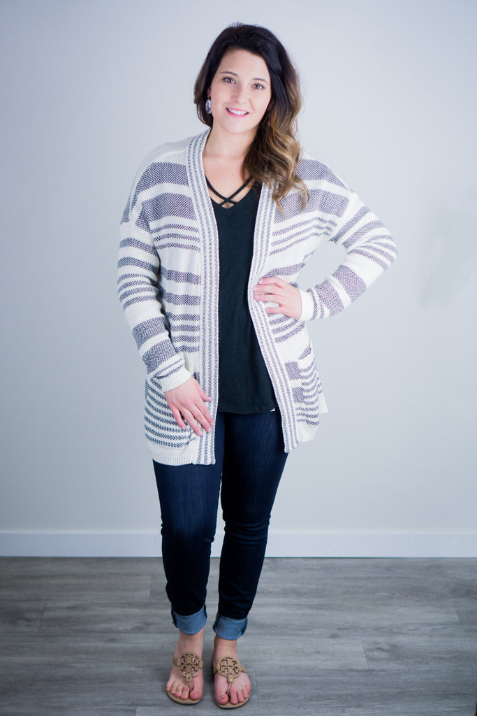 Rag Poets Positano Striped Cardigan