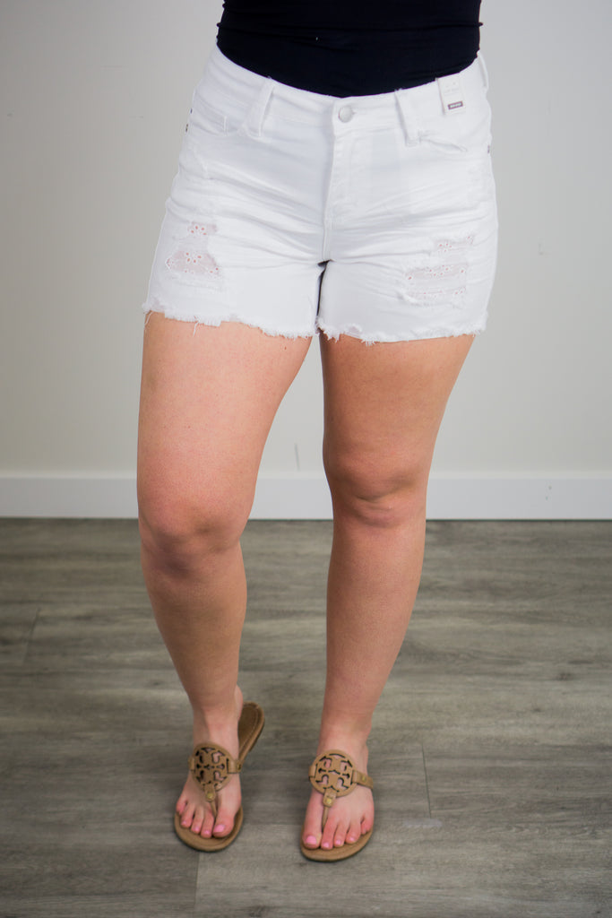 Judy Blue White Lace Patch Destroyed Shorts