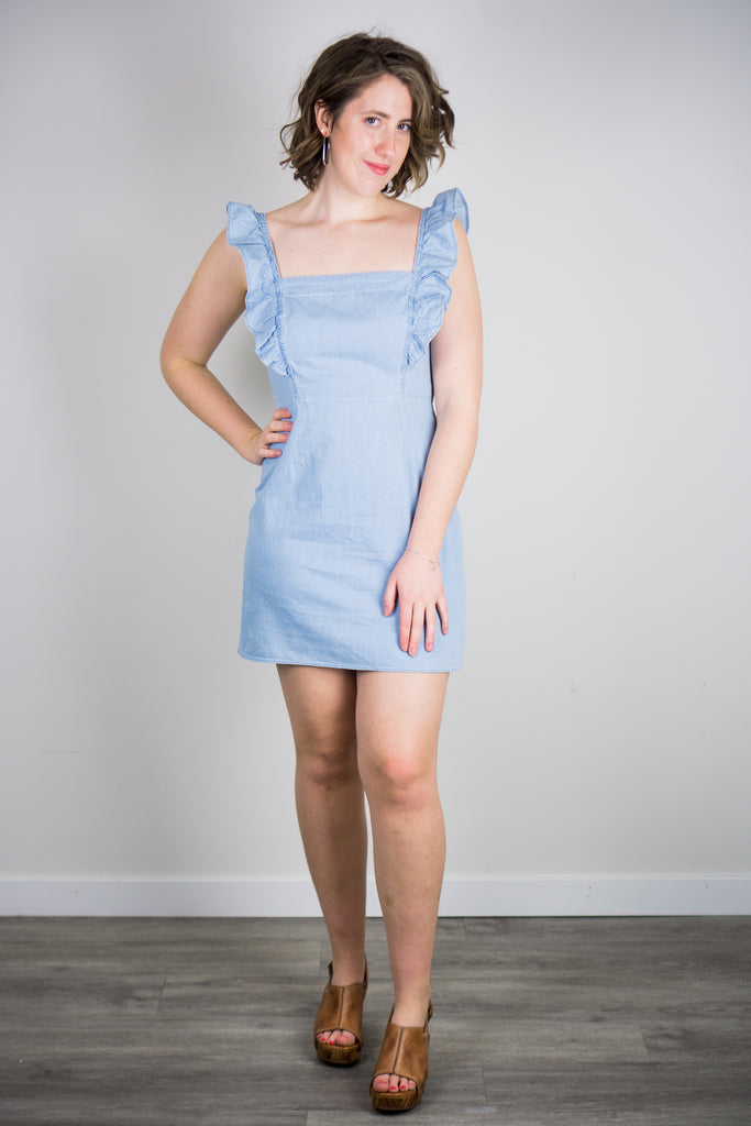 BB Dakota Chambray All Day Ruffled Dress