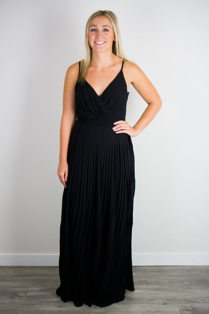 No Regrets Pleated Maxi Dress