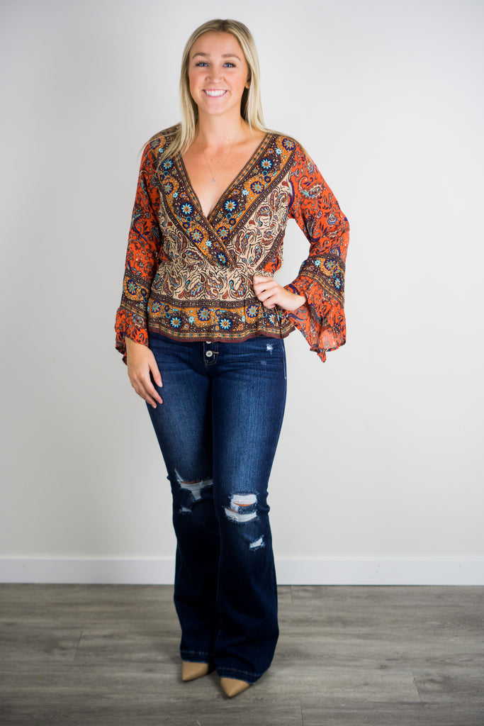 Free People Rosalie Printed Wrap Top