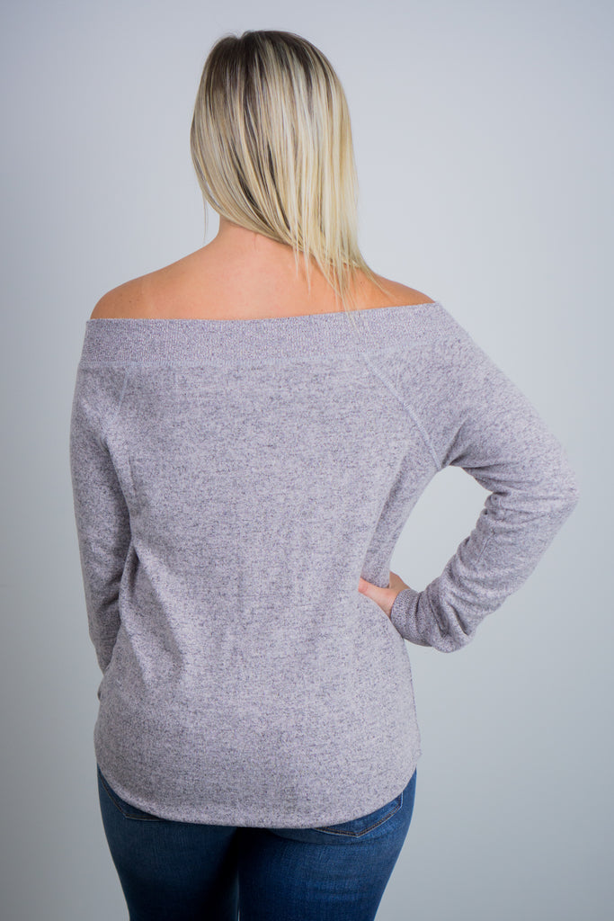 Z Supply The Marled Sweater Knit One Shoulder