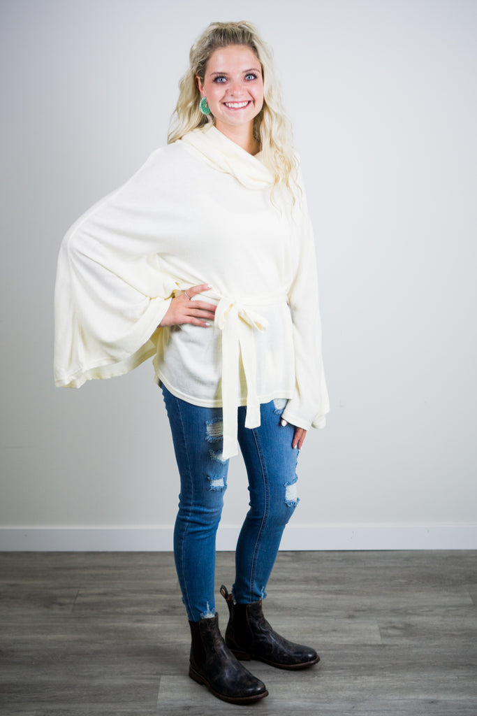 Our Song Pull Over Cowl Neck Sweater