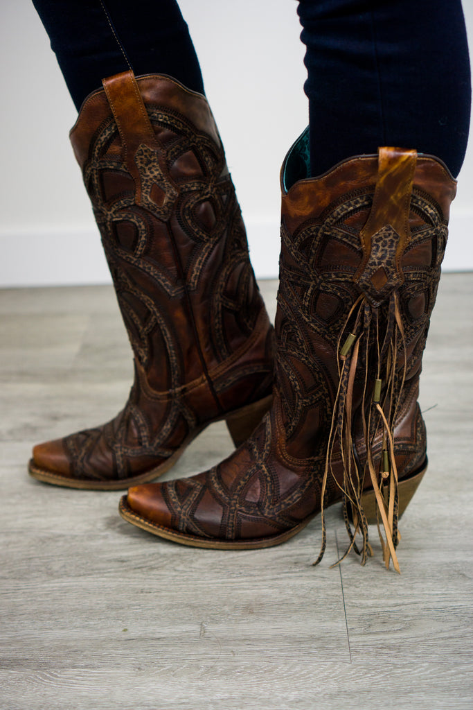 Corral Print and Fringe Boot