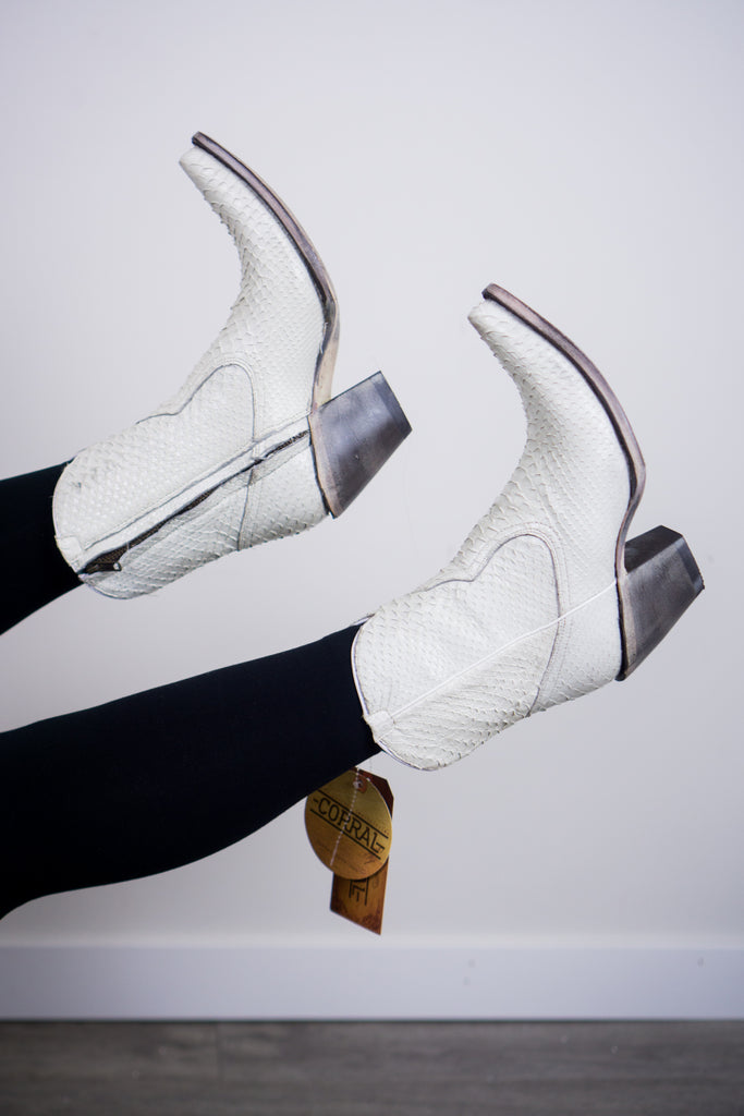Corral White Python Ankle Boot