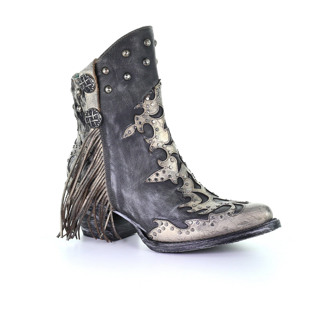 Corral Black Overlay and Fringe Concho Stud Cowhide Ankle Boots
