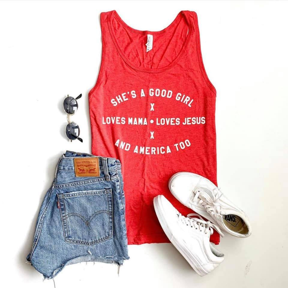 She Loves America Graphic Tank