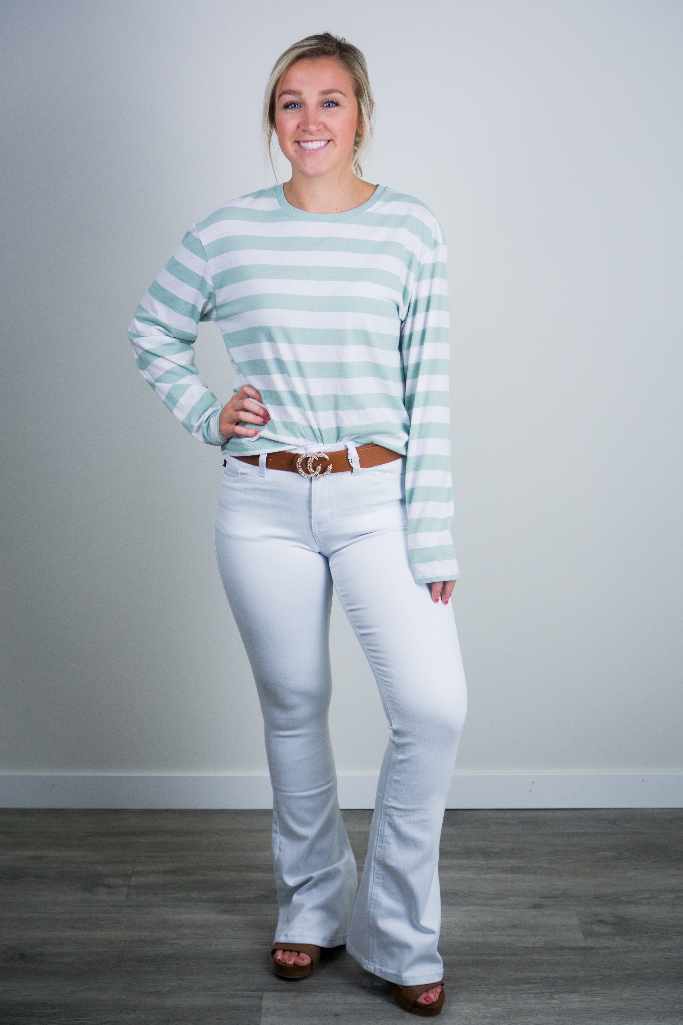 Kancan White Flare Jeans Cultivate Boutique