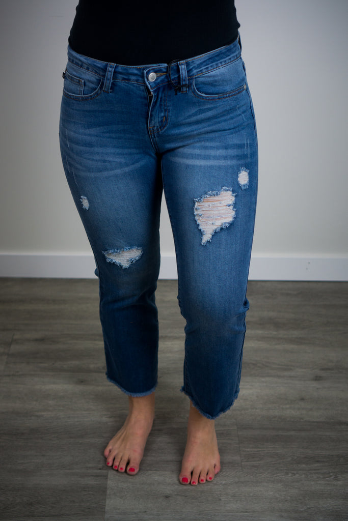 Judy Blue Distressed Crop Flare