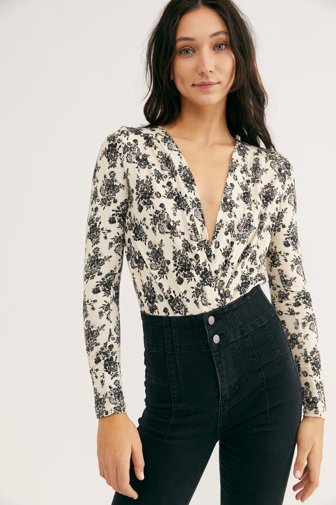Free People Printed Turnt Bodysuit