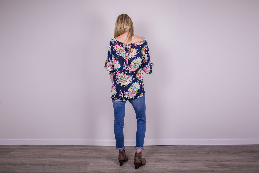 Floral Ruffle Sleeve