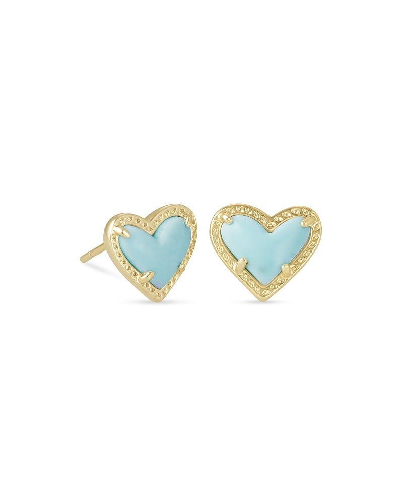 Kendra Scott Ari Heart Gold Stud Earrings in Light Blue Magnesite