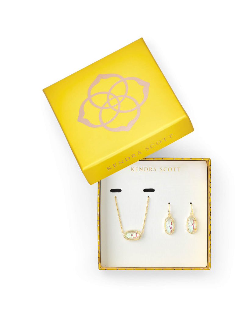 Kendra Scott Elisa Necklace & Lee Earring Gold Gift Set In Dichroic Glass