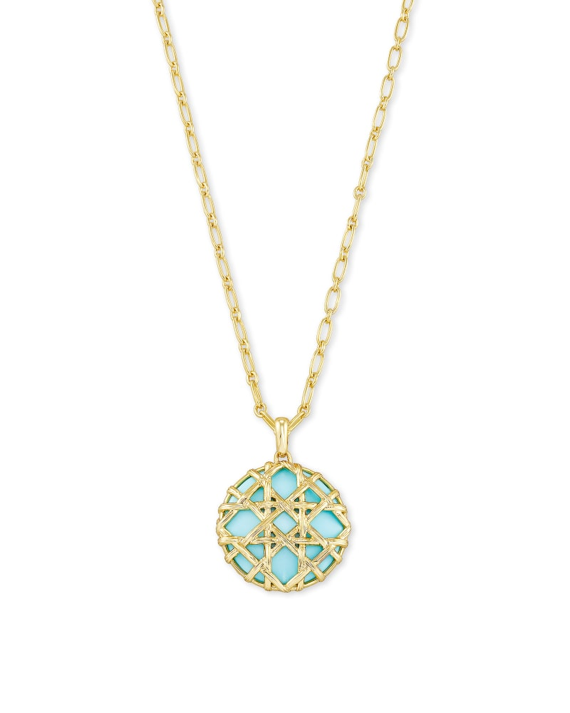 Kendra Scott Natalie Gold Long Pendant Necklace in Light Blue Magnesite