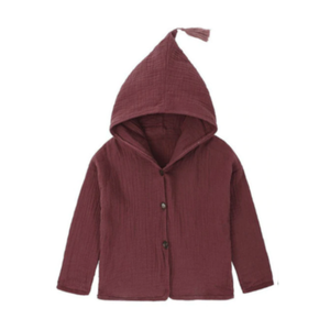 Button Jacket in Burgundy
