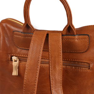 Boxy Backpack in Cognac