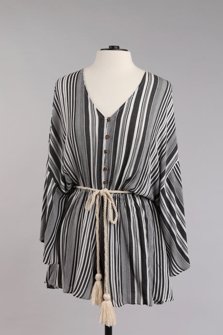Striped Romper with Sleeves