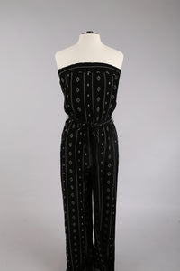 Black and White Smocked Jumpsuit