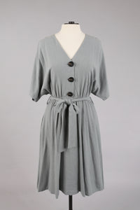 Button Dress in Seagreen