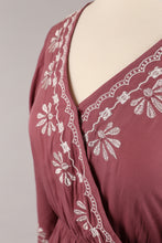 Embroidered Maxi Dress in Mauve