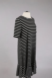Striped Swing Dress in Black