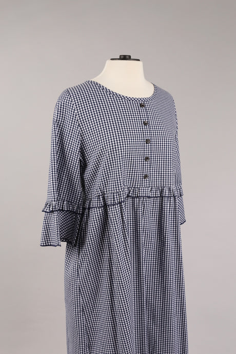 Gingham Dress in Navy
