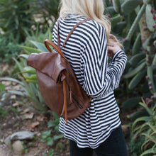 Rollover Backpack in Black, Brown, and Blush