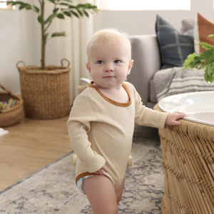Ribbed Onesie in Light Brown