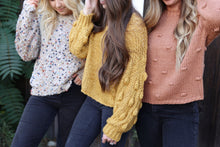 Bobble Sleeve Sweater in Mustard