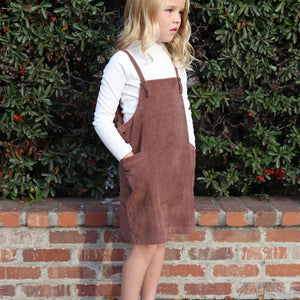 Corduroy Overall Dress in Brown