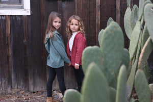 Girls Jacket in Red and Green