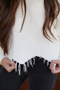 Fringe Sweater in White