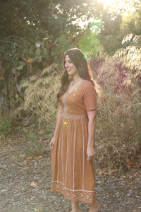 Embroidered Dress in Brown