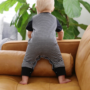 Baby Boys Striped Romper with Black Sleeves