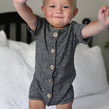 Button-Down Romper in Charcoal
