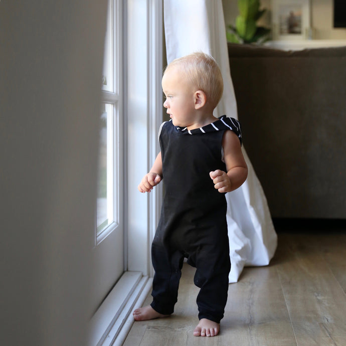 Striped Hooded Romper in Black